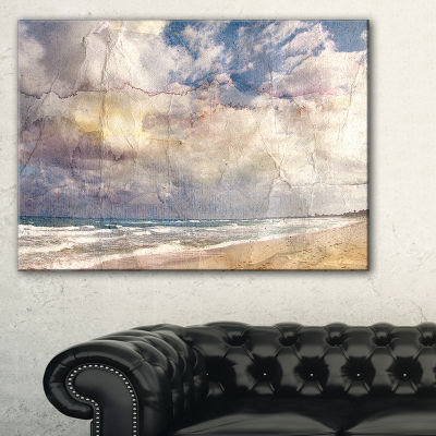 Designart Retro Ocean Watercolor Seascape PaintingCanvas Art Print - 3 Panels