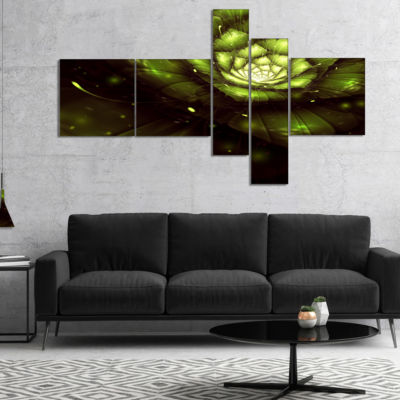 Designart Green Flower With Sun Rays Multipanel Floral Art Canvas Print - 4 Panels