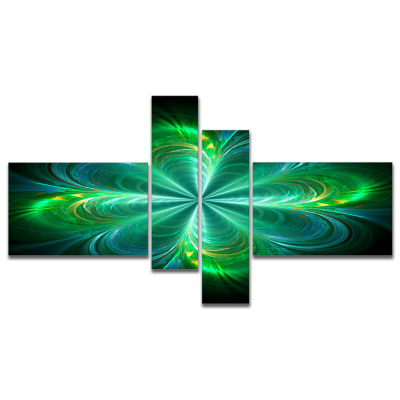 Designart Green Fractal Flower Blooming MultipanelAbstract Canvas Art Print - 4 Panels