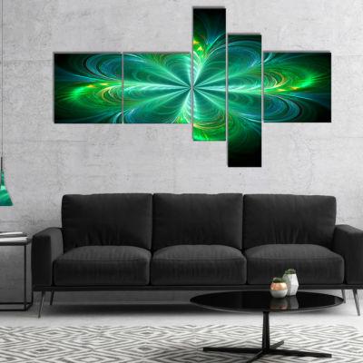 Designart Green Fractal Flower Blooming MultipanelAbstract Canvas Art Print - 5 Panels