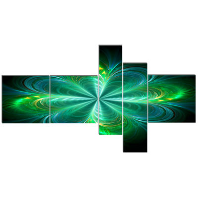 Designart Green Fractal Flower Blooming MultipanelAbstract Canvas Art Print - 5 Panels