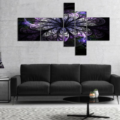 Designart Green Fractal Flower In Dark MultipanelBlue Multipanel Floral Art Canvas Print - 4 Panels