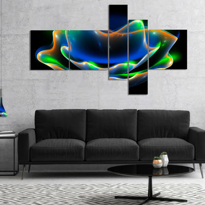 Designart Green Fractal Flower In Dark MultipanelFloral Canvas Art Print - 4 Panels
