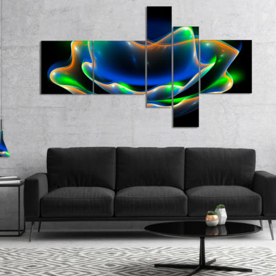 Designart Green Fractal Flower In Dark MultipanelFloral Canvas Art Print - 5 Panels