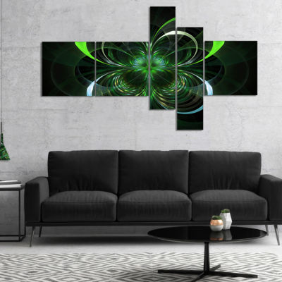 Designart Green Fractal Flower In Dark MultipanelGreen Multipanel Floral Art Canvas Print - 4 Panels