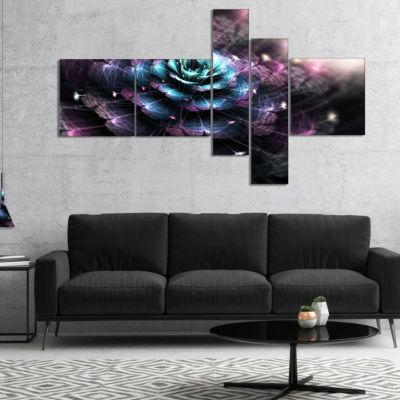 Designart Green Fractal Flower In Dark MultipanelLarge Floral Art Canvas Print - 4 Panels