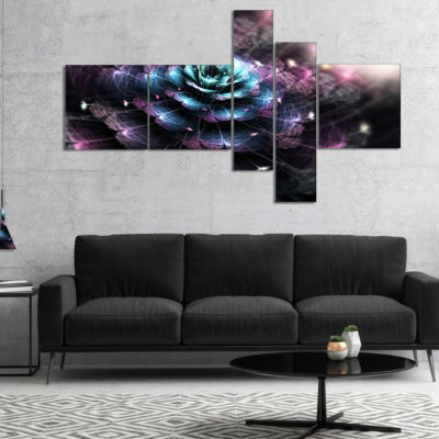 Designart Green Fractal Flower In Dark MultipanelLarge Floral Art Canvas Print - 5 Panels