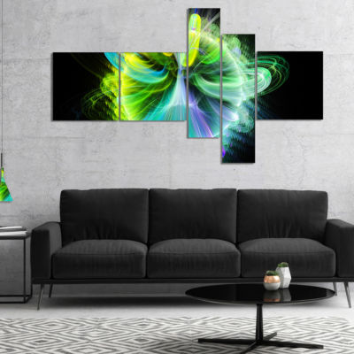 Designart Green Fractal Vortices Of Energy Multipanel Floral Canvas Art Print - 5 Panels