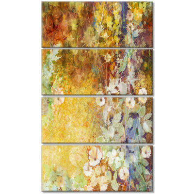 Little Flowers With Soft Green Leaves Floral Canvas Art Print - 4 Panels