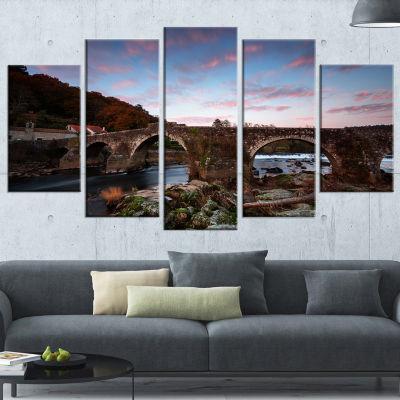 Designart Old Roman Bridge in Spain Landscape Photo WrappedCanvas Art Print - 5 Panels
