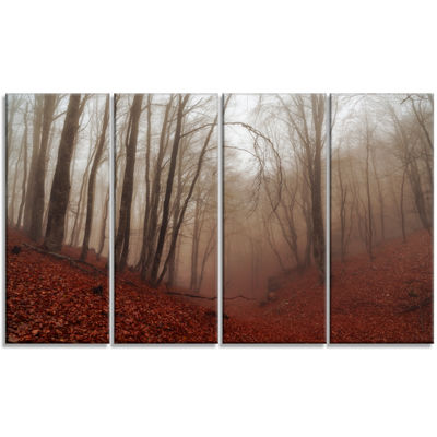 Designart Red Leaves in Foggy Fall Forest Landscape Photography Canvas Print - 4 Panels