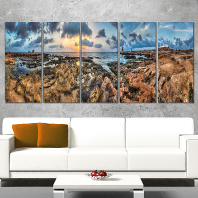 Designart Rocky With Historic Ruins Evening Landscape CanvasArt Print - 5 Panels
