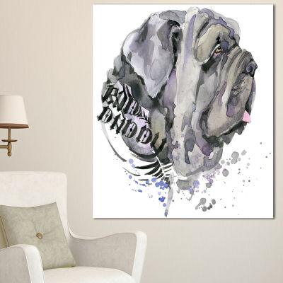 Designart Aggressive Gray Dog Watercolor Animal Canvas Wall Art