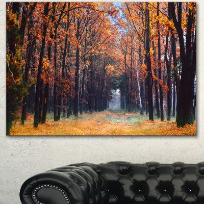 Designart Alley In The Dense Autumn Forest ForestCanvas Art Print 3 Panels