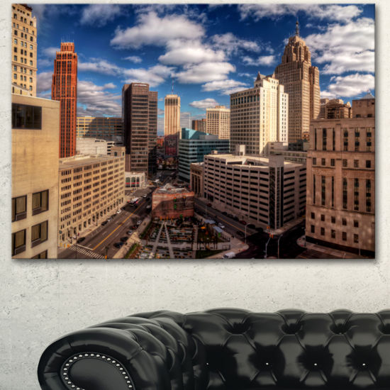 Designart Amazing Urban City With Skyline Extra Large Canvas Art Print