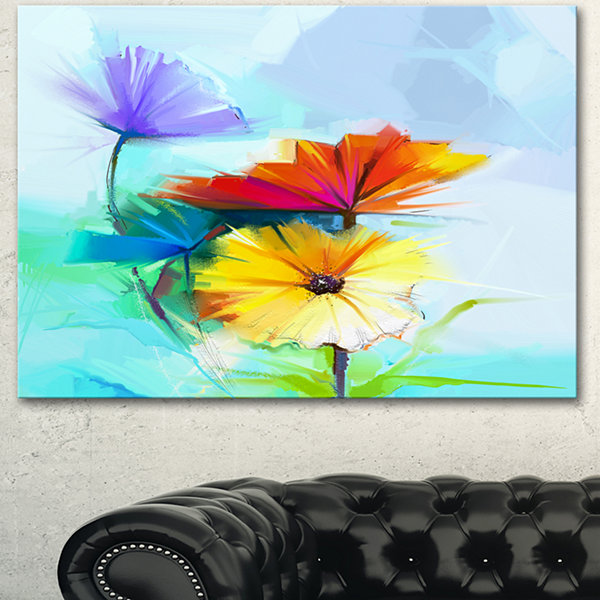 Design Art Amazing Watercolor Of Spring Daisies Large Floral Canvas Art Print