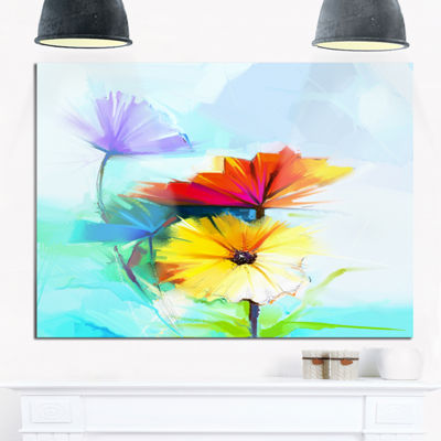 Designart Amazing Watercolor Of Spring Daisies Large Floral Canvas Art Print