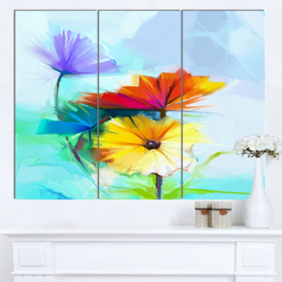 Designart Amazing Watercolor Of Spring Daisies Large Floral Canvas Art Print  3 Panels