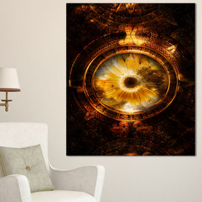 Design Art Ancient Mayan Calendar Collage AbstractWall Art Print On Canvas 3 Panels