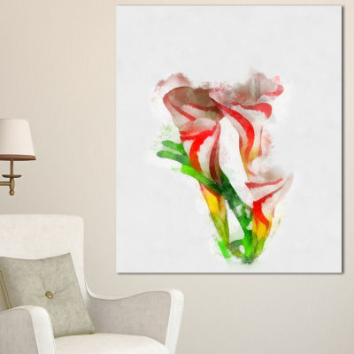 Designart Beautiful Bell Flower Watercolor FloralCanvas Art Print  3 Panels
