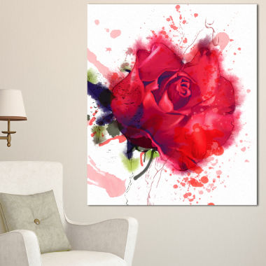 Designart Beautiful Bright Red Rose Floral CanvasArt Print