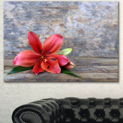Design Art Beautiful Fallen Red Lily Flower LargeFloral Canvas Artwork
