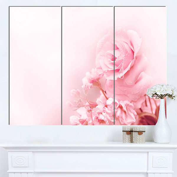 Designart Beautiful Rose In Magic Light PortraitCanvas Art Print 3 Panels