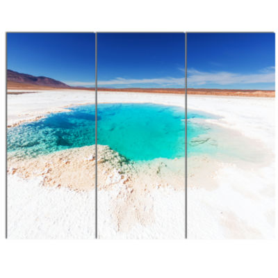 Design Art Beautiful Salinas Lake In Argentina Large Landscape Canvas Art 3 Panels