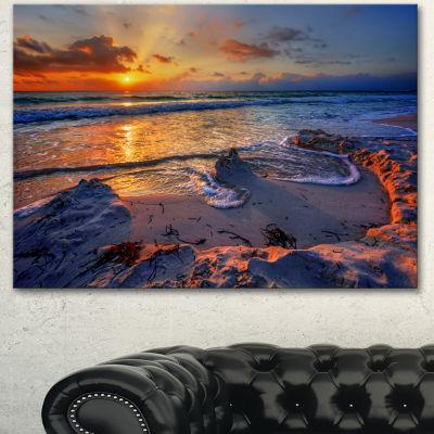 Designart Beautiful Seashore With Yellow Sun Seashore Canvas Art Print