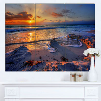 Designart Beautiful Seashore With Yellow Sun Seashore Canvas Art Print 3 Panels