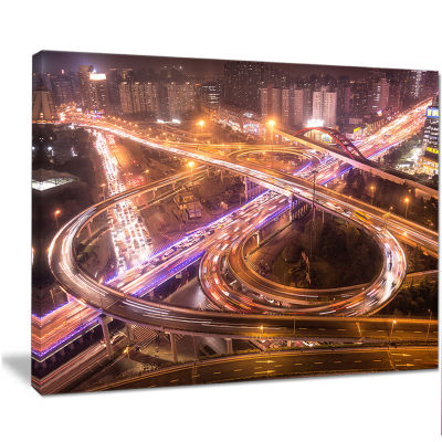 Designart Beautiful Shanghai Traffic Extra Large Canvas Art Print