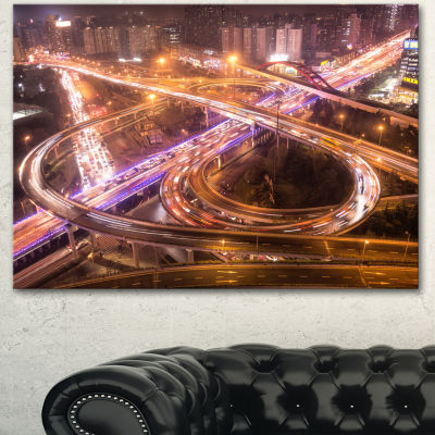 Designart Beautiful Shanghai Traffic Extra LargeCanvas Art Print 3 Panels