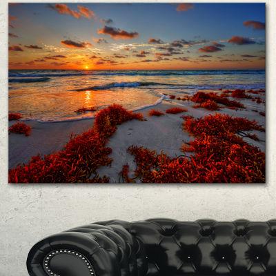 Designart Beautiful Shore And Cloudy Sky Extra Large Landscape Canvas Art Print 3 Panels