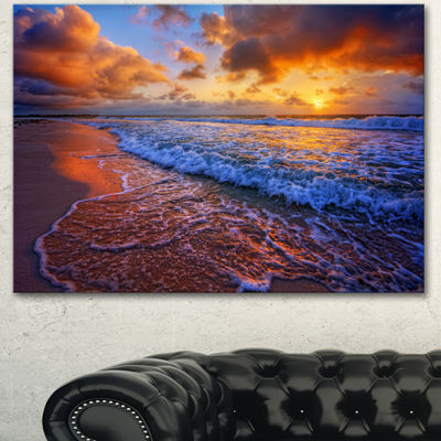 Designart Beautiful Waves Under Cloudy Sky Seashore Canvas Art Print 3 Panels