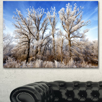 Designart Beautiful Winter Evening View Large Landscape Canvas Art 3 Panels