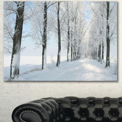Designart Beautiful Winter Forest Lane Photo LargeForest Canvas Art Print 3 Panels