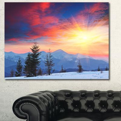 Designart Beautiful Winter Landscape View Landscape Canvas Art Print