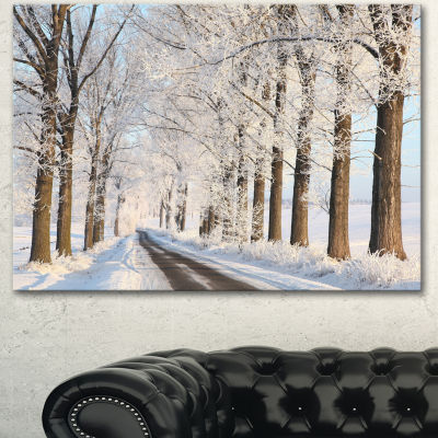 Designart Beautiful Winter Lane At Morning Large Forest Canvas Art Print