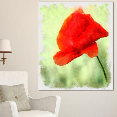 Design Art Big Red Poppy Flower Watercolor FloralCanvas Art Print