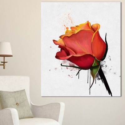 Designart Isolated Red Rose Watercolor Sketch Floral Canvas Art Print