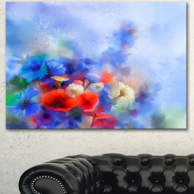 Design Art Blue Corn Flowers And Red Poppies Floral Canvas Art Print 3 Panels