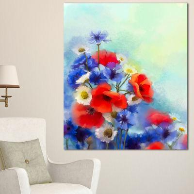 Designart Blue Cornflower And White Daisy FloralCanvas Art Print 3 Panels