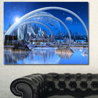 Designart Blue Fantasy Landscape Landscape CanvasArt Print 3 Panels