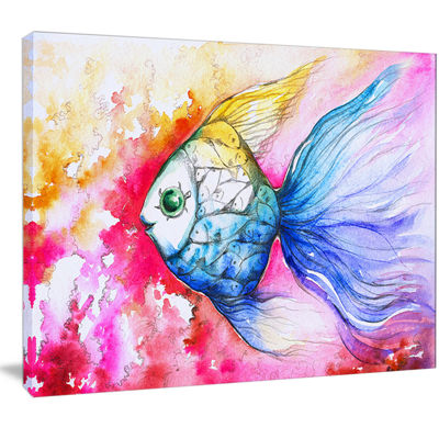 Designart Blue Fish On Red Background Animal Canvas Art Print