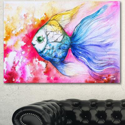 Design Art Blue Fish On Red Background Animal Canvas Art Print 3 Panels