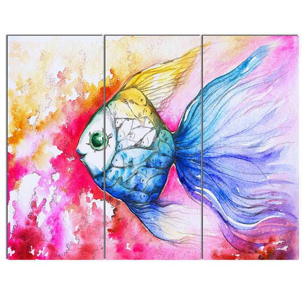 Designart Blue Fish On Red Background Animal Canvas Art Print 3 Panels