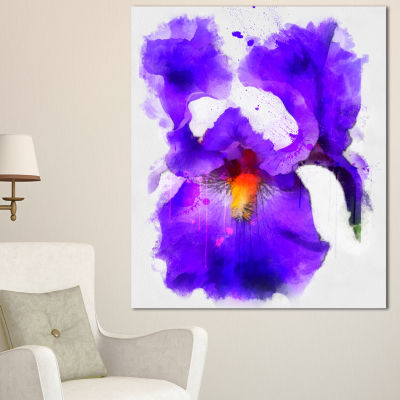 Designart Blue Flower And Watercolor Splashes Large Floral Canvas Artwork 3 Panels