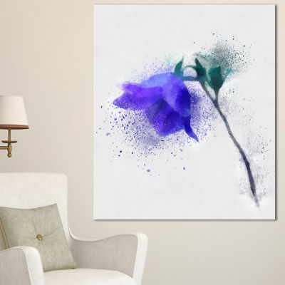 Designart Blue Flower Stem With Color Splashes Floral Canvas Art Print