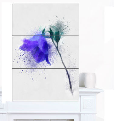 Designart Blue Flower Stem With Color Splashes Floral Canvas Art Print 3 Panels