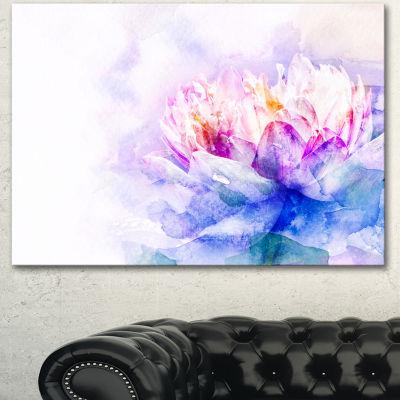 Designart Blue Flower Watercolor Floral Canvas ArtPrint  3 Panels
